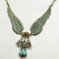 blue and bronze wing necklace