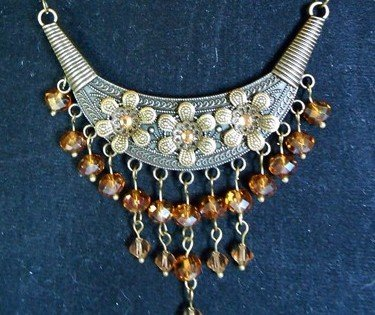 egyptian inspired bronze and amber necklace