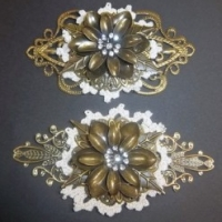 metal filigree and doily flower for butterbeescraps