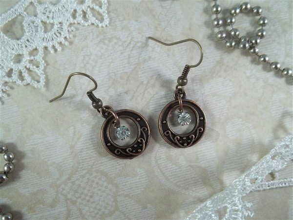 copper toggle clasp earrings by butterbeescraps