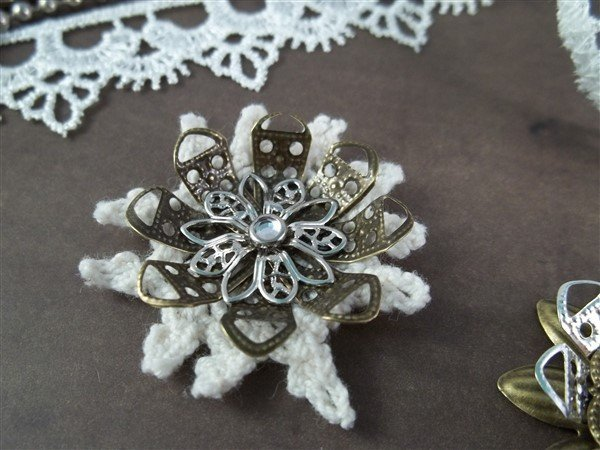 metal filigree flower embellishments by butterbeescraps