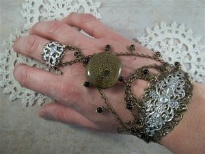 bronze and silve slave bracelet by butterbeescraps
