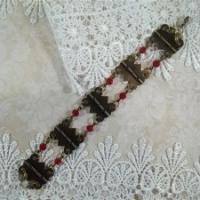red and bronze hardware jewelry bracelet