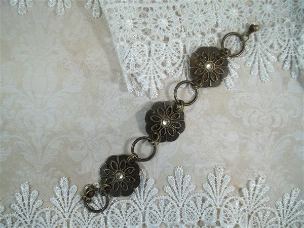 antique bronze drawer pull bracelet by butterbeescraps