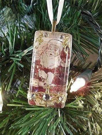 rectangular glass santa christmas ornament