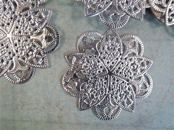 silver metal filigree embellishments by butterbeescraps