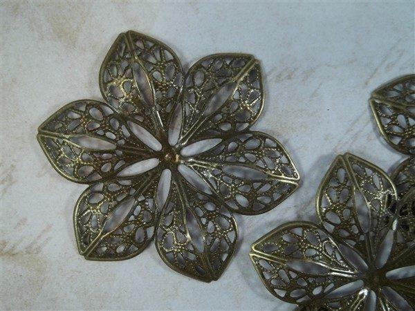 bronze metal filigree metal embellishments by butterbeescraps