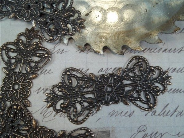 copper metal filigree embellishments by butterbeescraps