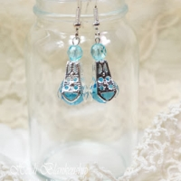 aqua and silver dangle earrings for butterbeescraps