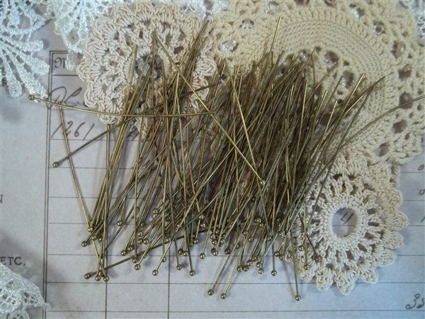 bronze ball end head pins by butterbeescraps