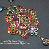 colored metal filigree necklace for butterbeescraps