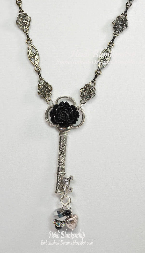 black rose key necklace pendant for butterbeescraps