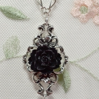 black rose necklace pendant for butterbeescraps