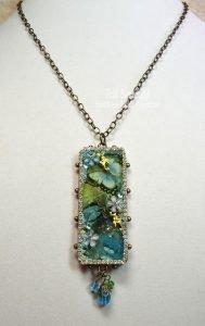 blue butterfly bezel pendant for butterbeescraps
