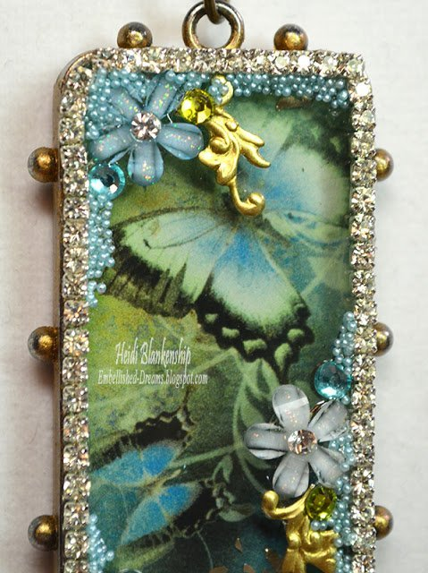 blue butterfly bezel pendant for butterbeescraps