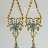 blue brass filigree earrings butterbeescraps
