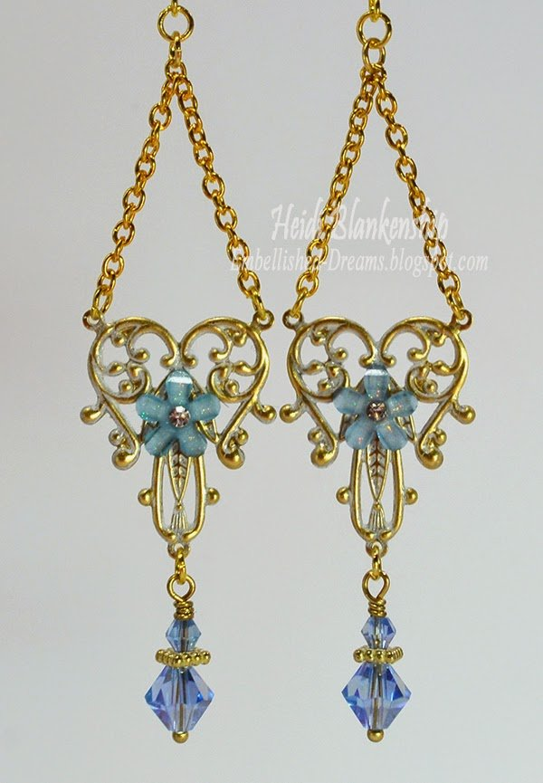 blue brass filigree earrings butterbeescraps