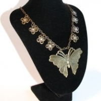 bronze butterfly necklace for butterbeescraps