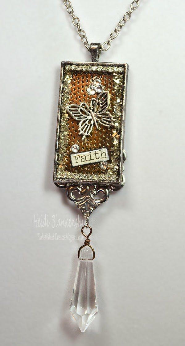 silver bezel necklace pendant for butterbeescraps