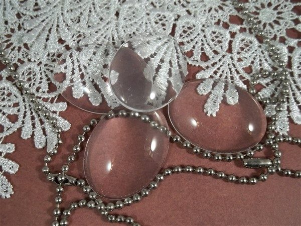 clear glass oval cabochons by butterbeescraps