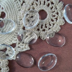 clear oval glass cabochons by butterbeescraps