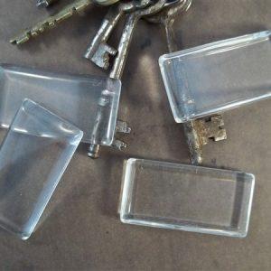 rectangular glass cabochons by butterbeescraps