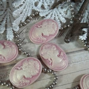 rose pink cameos by butterbeescraps