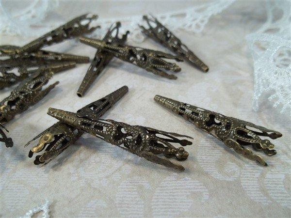 bronze metal filigree bead caps by butterbeescraps