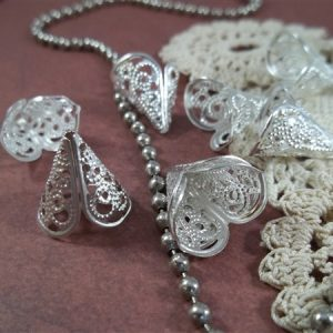 silver filigree bead caps by butterbeescraps