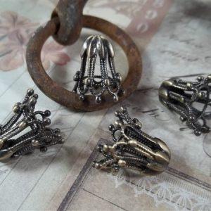 bronze filigree bead caps by butterbeescraps