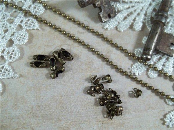 bronze ball chain by butterbeescraps