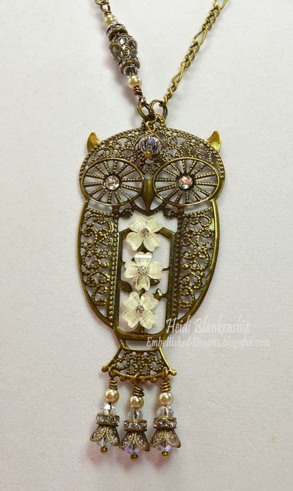 crystal and bronze filigree owl necklace for butterbeescraps