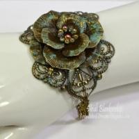 bronze rose metal filigree bracelet