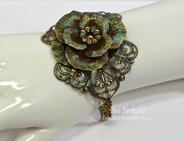 bronze rose metal filigree bracelet