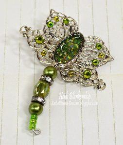green crystal filigree dragonfly
