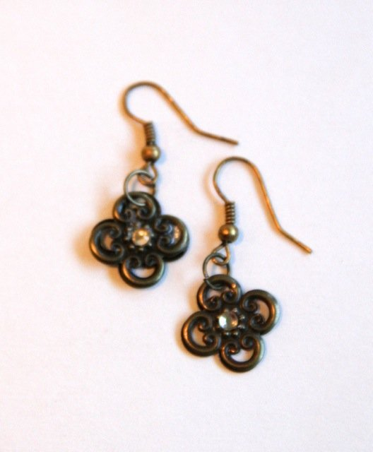bronze filigree earrings for butterbeescraps