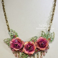 gold and magenta rose necklace for butterbeescraps