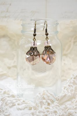 golden pink sparkle earrings for butterbeescraps