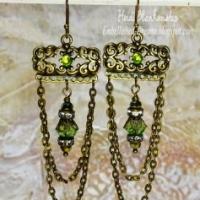 green crystal chandelier earrings for butterbeescraps