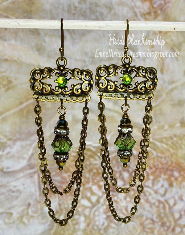 green crystal chandelier earrings for butterbeescraps