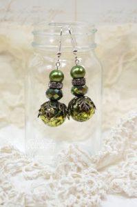 green earrings for butterbeescraps
