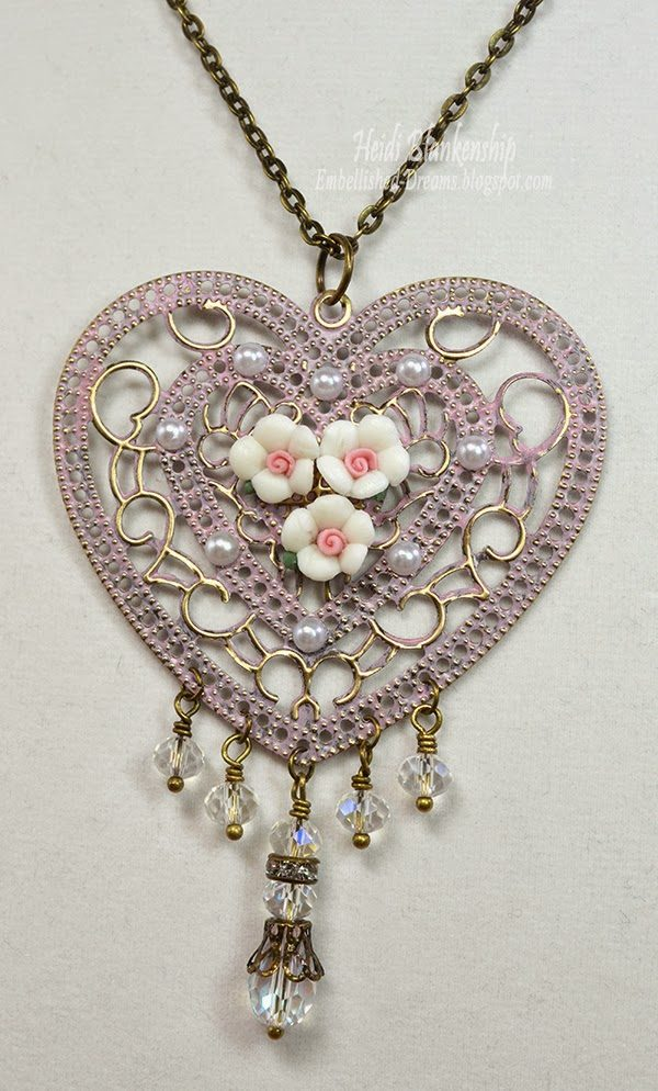 heart and roses necklace for butterbeescraps