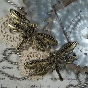 bronze dragonfly tibetan charms by butterbeescraps