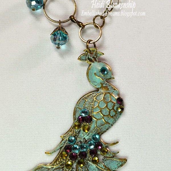 colored peacock metal necklace for butterbeescraps