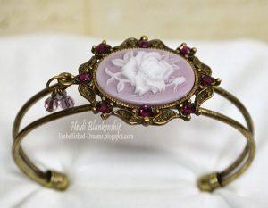 mauve cameo bracelet for butterbeescraps