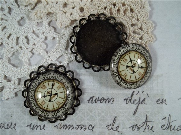 glass clock cabochons by butterbeescraps