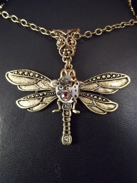 butterfly steampunk necklace pendant by butterbeescraps