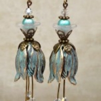 blue patina tulip earrings for butterbeescraps