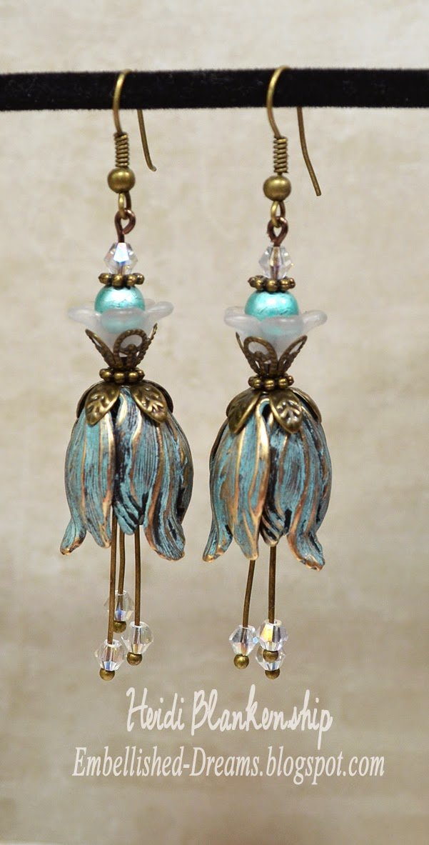 blue patina tulip earrings for butterbeescraps