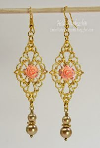 pink rose and gold earrings for butterbeescraps